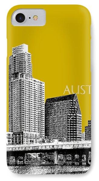 Austin Texas Skyline - Gold Phone Case by DB Artist