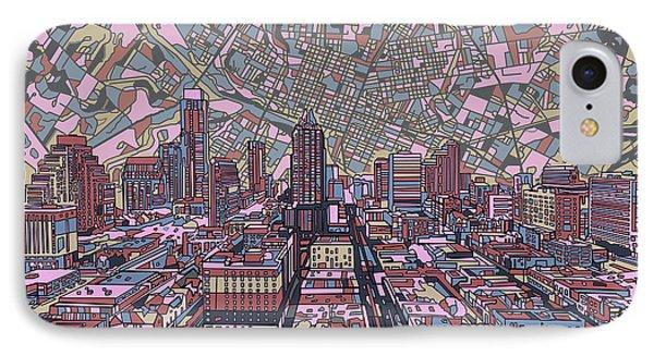 Austin Skyline iPhone 7 Case - Austin Texas Vintage Panorama 2 by Bekim Art