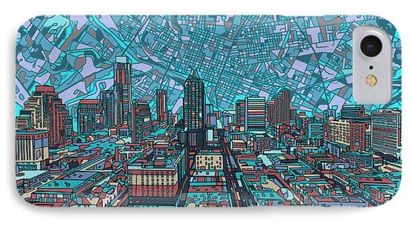 Austin Skyline iPhone 7 Case - Austin Texas Vintage Panorama 4 by Bekim Art