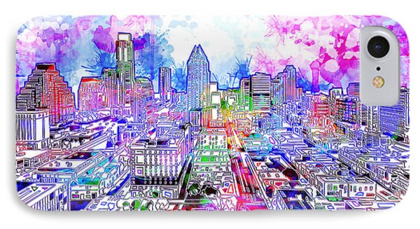 Austin Texas Watercolor Panorama IPhone 7 Case