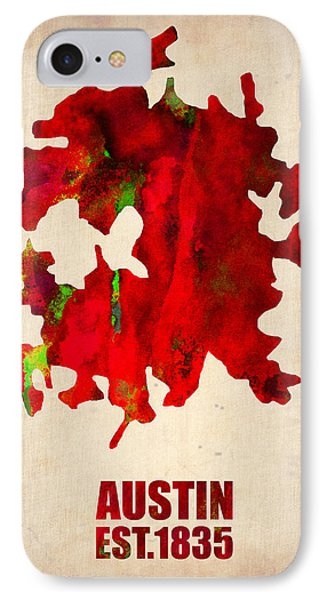 Austin Watercolor Map IPhone 7 Case by Naxart Studio