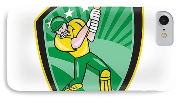 Australia Cricket Player Batsman Batting Shield Phone Case by Aloysius Patrimonio