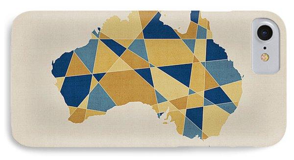 Australia Geometric Retro Map Phone Case by Michael Tompsett
