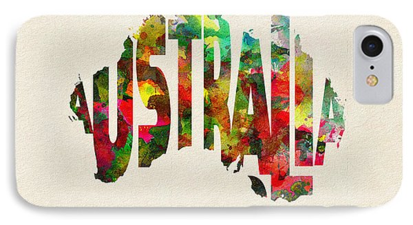 Australia Typographic Watercolor Map IPhone Case by Ayse Deniz