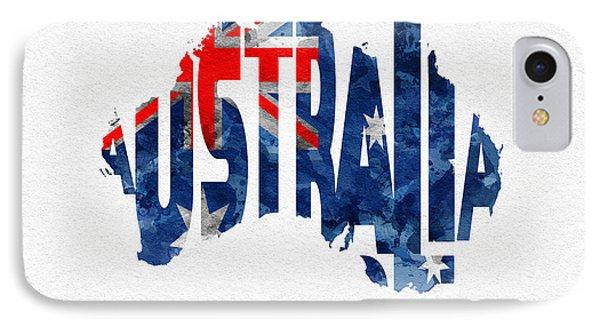 Australia Typographic World Map IPhone Case by Ayse Deniz