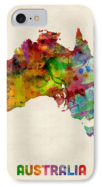 Australia Watercolor Map IPhone Case by Michael Tompsett