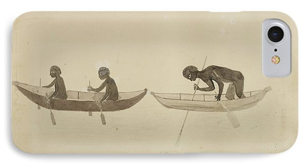 Australian Aborigines Paddling Bark Canoe IPhone Case by British Library