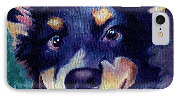 Australian Shepard Dog Portrait IPhone Case by Robyn Saunders