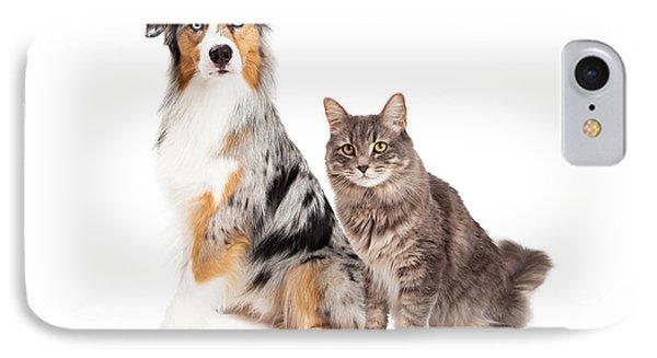 Australian Shepherd Dog And Tabby Cat IPhone Case by Susan Schmitz