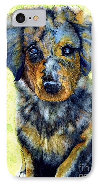 Australian Shepherd Puppy IPhone Case by Janine Riley
