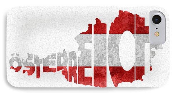 Austria Typographic Map Flag IPhone Case by Ayse Deniz