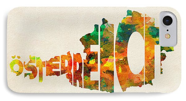 Austria Typographic Watercolor Map IPhone Case by Ayse Deniz