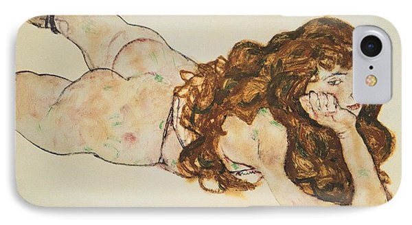 Austria Vienna Female Nude Lying On Her Stomach IPhone Case by Egon Schiele