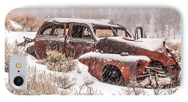 IPhone Case featuring the photograph Auto In Snowstorm by Sue Smith
