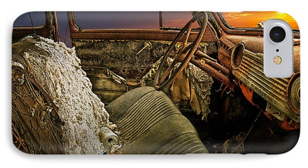 Auto Interior Of Abandoned Vintage Automobile IPhone Case by Randall Nyhof