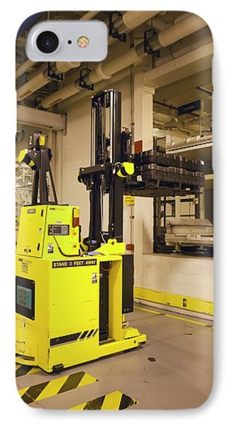 Automated Forklift At A Car Factory IPhone Case