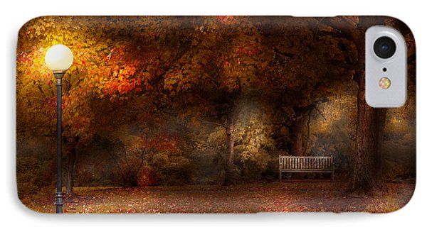 Autumn - A Park Bench Phone Case by Mike Savad