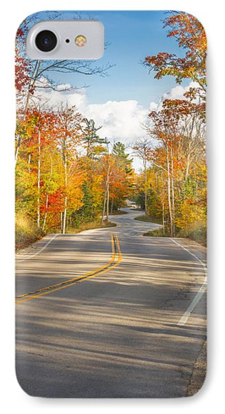Autumn Afternoon On The Winding Road IPhone Case by Mark David Zahn
