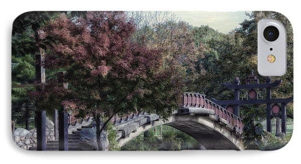 Autumn At Bradley Park Japanese Bridge Textured IPhone Case