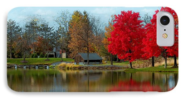 Autumn Beauty On A Pond IPhone Case by Ron Grafe