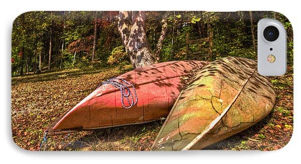 Autumn Canoes Phone Case by Debra and Dave Vanderlaan