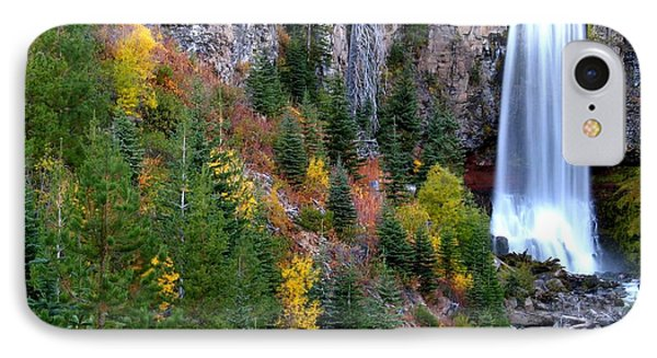 IPhone Case featuring the photograph Autumn Colors Surround Tumalo Falls by Kevin Desrosiers