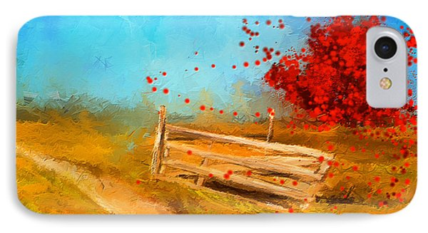 Autumn Farm- Autumn Impressionism Oil Palette Knife Painting IPhone Case by Lourry Legarde