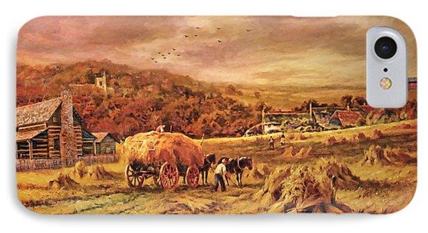 IPhone Case featuring the digital art Autumn Folk Art - Haying Time by Lianne Schneider