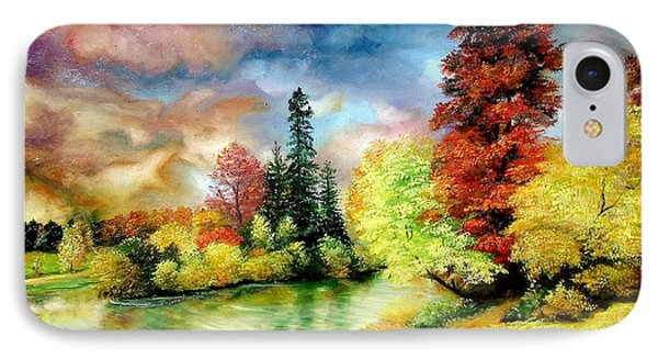 IPhone Case featuring the painting Autumn In Park by Sorin Apostolescu