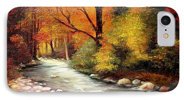 IPhone Case featuring the painting Autumn In The Forest by Sorin Apostolescu