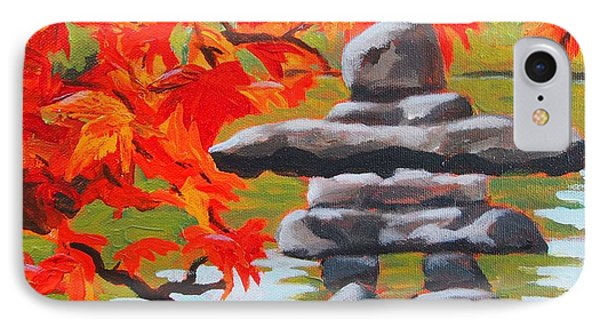 IPhone Case featuring the painting Autumn Inukshuk by Janet McDonald