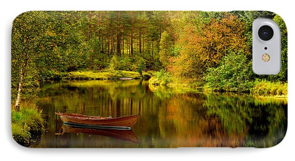 Autumn Lake With Boat IPhone Case