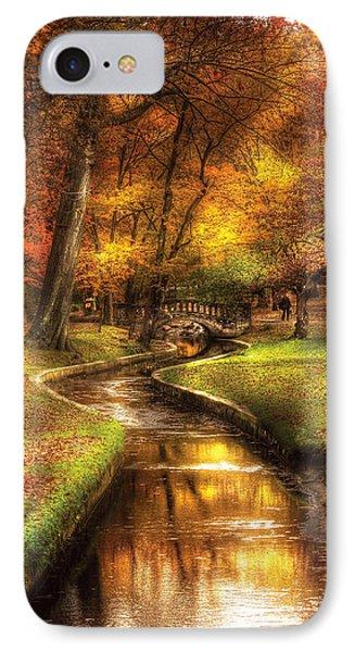 Autumn - Landscape - By A Little Bridge  Phone Case by Mike Savad