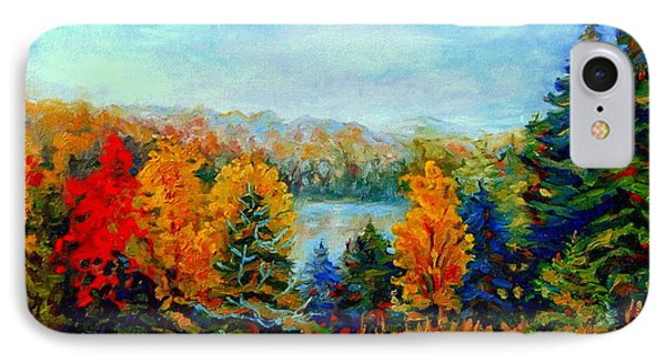Autumn Landscape Quebec Red Maples And Blue Spruce Trees Phone Case by Carole Spandau