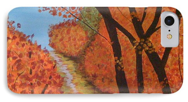 IPhone Case featuring the painting Autumn Lane by Judi Goodwin