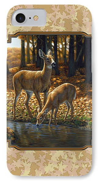 Autumn Leaves Doe And Fawn Pillow And Duvet Cover IPhone Case by Crista Forest