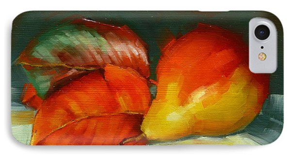 IPhone Case featuring the painting Autumn Pear Leaves And Fruit by Margaret Stockdale