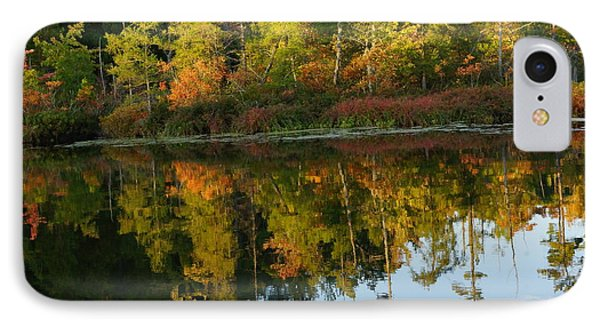 Autumn Reflections In Manistee National Forrest On East Lake IPhone Case