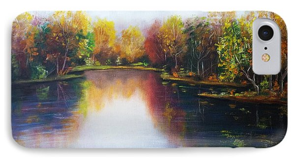 IPhone Case featuring the painting Autumn Reflections  by Vesna Martinjak