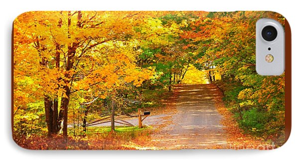 Autumn Road Home IPhone Case by Terri Gostola
