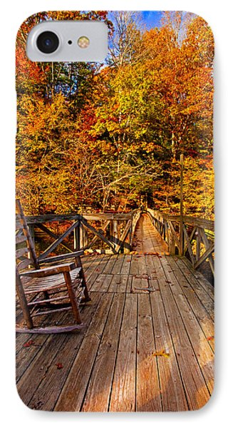 Autumn Rocking On Wooden Bridge Landscape Print IPhone Case