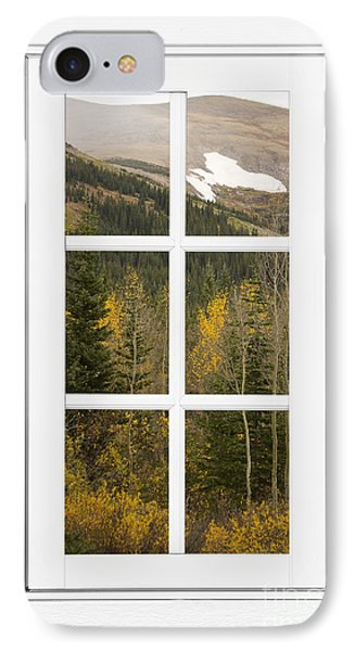 Autumn Rocky Mountain Glacier View Through A White Window Frame  IPhone Case by James BO  Insogna