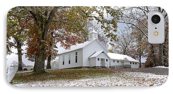 Autumn Snow And Country Church IPhone Case by Thomas R Fletcher