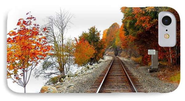 IPhone Case featuring the photograph Autumn Train Tracks by Karen Molenaar Terrell