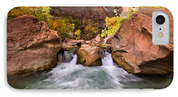 Autumn Waterfall In Zion IPhone Case