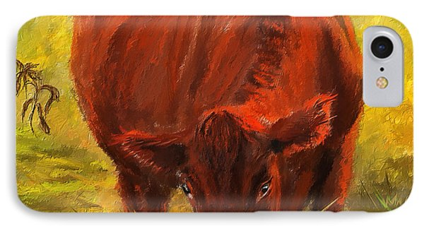 Autumn's Afternoon - Cow Painting IPhone Case by Lourry Legarde