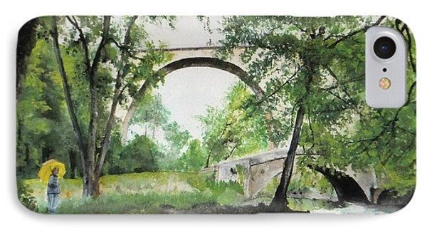 IPhone 7 Case featuring the painting Aux Pieds Des Ponts De Pierre - Perthuis by Marc Philippe Joly