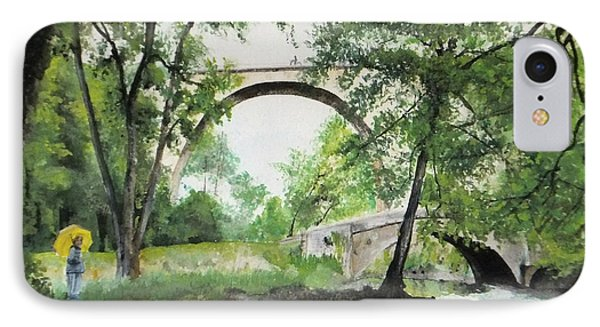 IPhone Case featuring the painting Aux Pieds Des Ponts De Pierre - Perthuis by Marc Philippe Joly