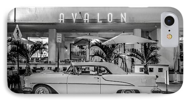 Avalon Hotel And Oldsmobile 88 - South Beach - Miami - Black And White IPhone Case by Ian Monk