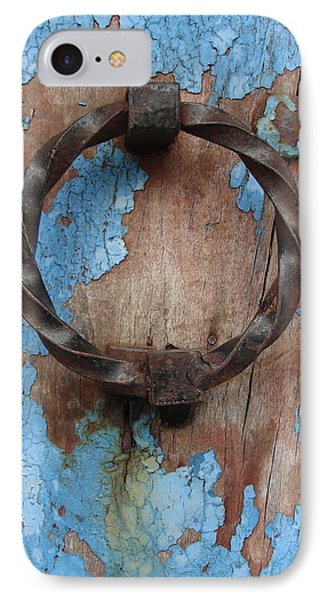 IPhone Case featuring the photograph Avignon Door Knocker On Blue by Ramona Johnston